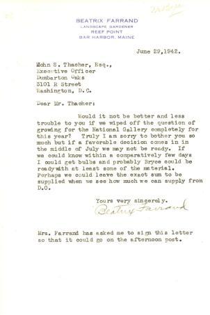 Beatrix Farrand to John Thacher, June 29, 1942