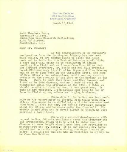 Beatrix Farrand to John Thacher, March 18, 1941