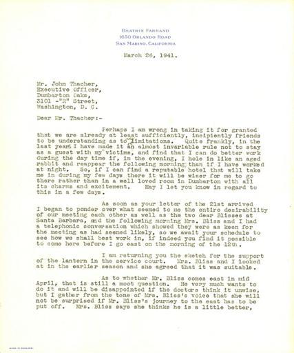 Beatrix Farrand to John Thacher, March 26, 1941