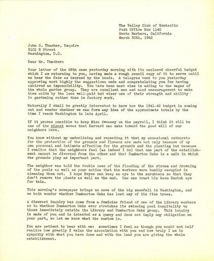 Beatrix Farrand to John Thacher, March 30, 1942