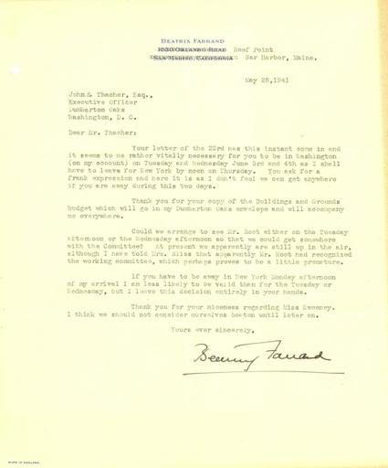 Beatrix Farrand to John Thacher, May 28, 1941
