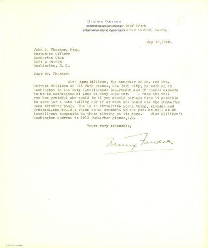 Beatrix Farrand to John Thacher, May 28, 1942