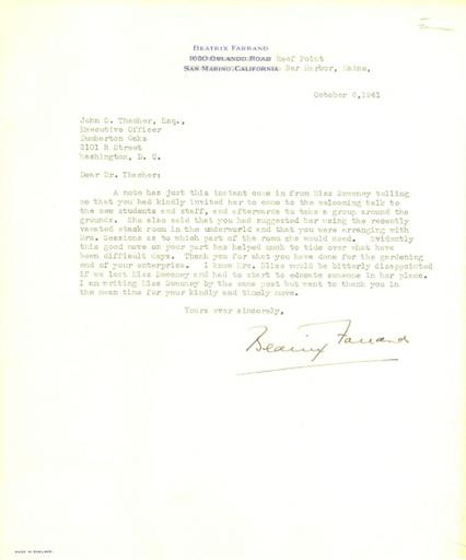 Beatrix Farrand to John Thacher, October 6, 1941