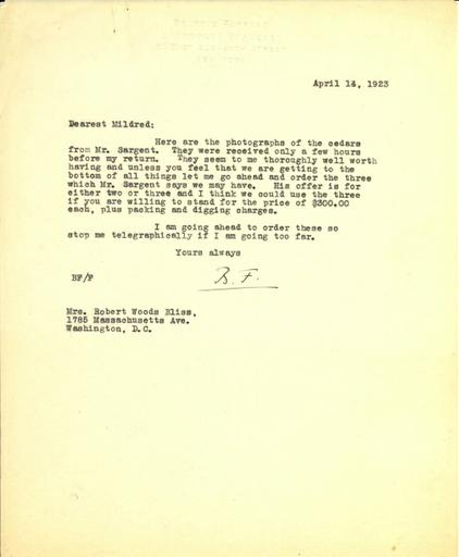 Beatrix Farrand to Mildred Bliss, April 14, 1923