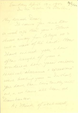 Beatrix Farrand to Mildred Bliss, April 19, 1942