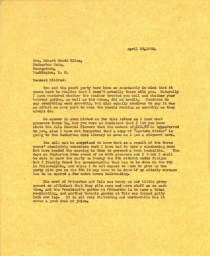 Beatrix Farrand to Mildred Bliss, April 28, 1938