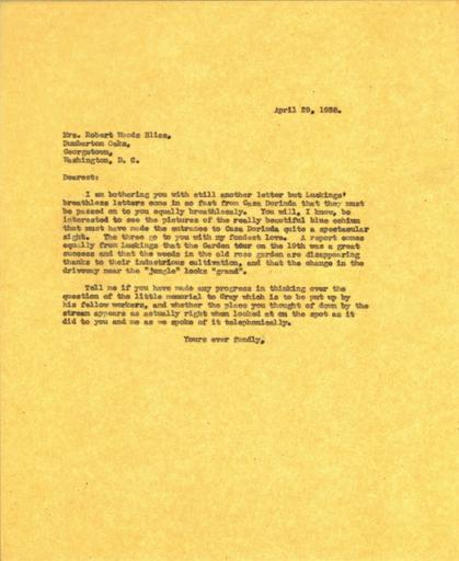 Beatrix Farrand to Mildred Bliss, April 29, 1938