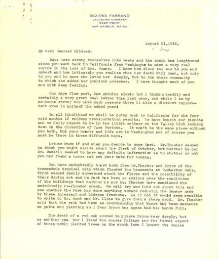 Beatrix Farrand to Mildred Bliss, August 21, 1942