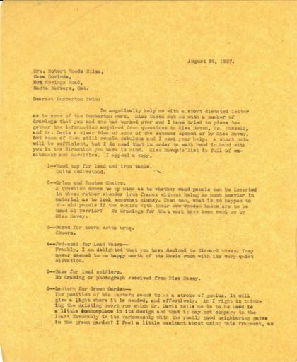 Beatrix Farrand to Mildred Bliss, August 28, 1937