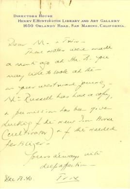 Beatrix Farrand to Mildred Bliss, December 18, 1940