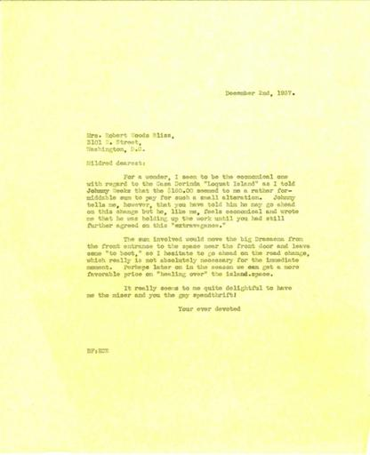 Beatrix Farrand to Mildred Bliss, December 2, 1937