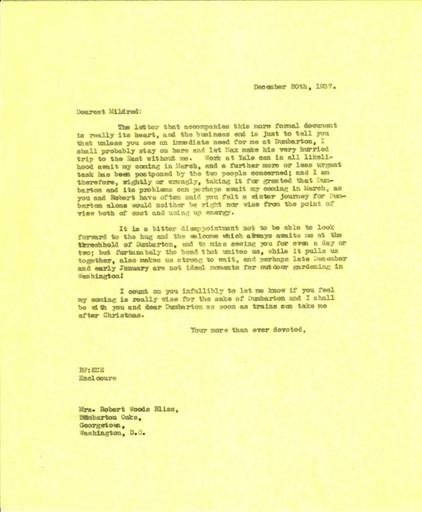 Beatrix Farrand to Mildred Bliss, December 20, 1937