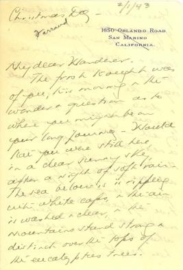 Beatrix Farrand to Mildred Bliss, December 25, 1942