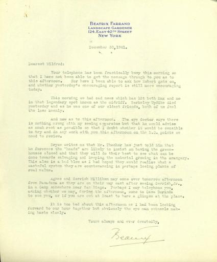 Beatrix Farrand to Mildred Bliss, December 30, 1941 (1)