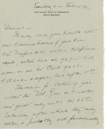 Beatrix Farrand to Mildred Bliss, February 15, 1942
