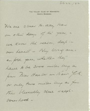 Beatrix Farrand to Mildred Bliss, February 22, 1942