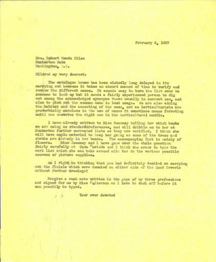 Beatrix Farrand to Mildred Bliss, February 5, 1937