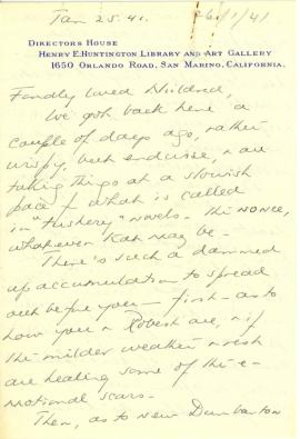 Beatrix Farrand to Mildred Bliss, January 25, 1941