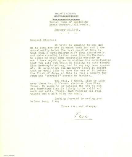 Beatrix Farrand to Mildred Bliss, January 28, 1942