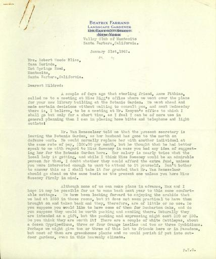Beatrix Farrand to Mildred Bliss, January 31, 1942