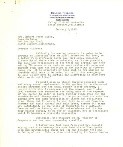 Beatrix Farrand to Mildred Bliss, January 5, 1942