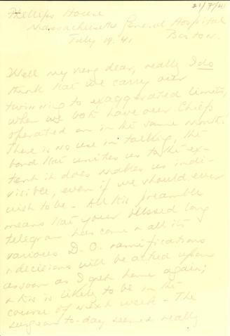 Beatrix Farrand to Mildred Bliss, July 19, 1941