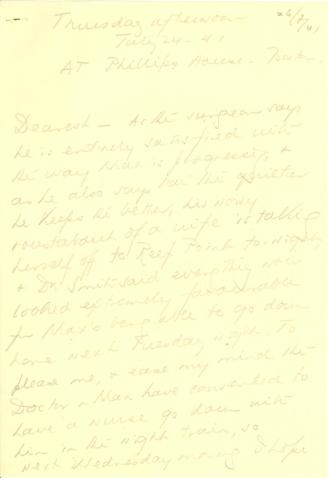 Beatrix Farrand to Mildred Bliss, July 24, 1941
