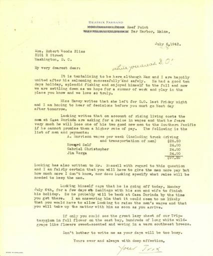 Beatrix Farrand to Mildred Bliss, July 6, 1942
