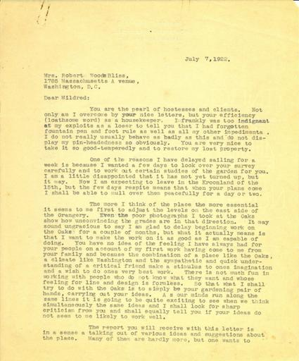 Beatrix Farrand to Mildred Bliss, July 7-8, 1922