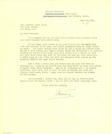 Beatrix Farrand to Mildred Bliss, June 13, 1942