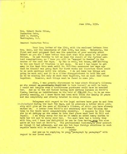 Beatrix Farrand to Mildred Bliss, June 18, 1938