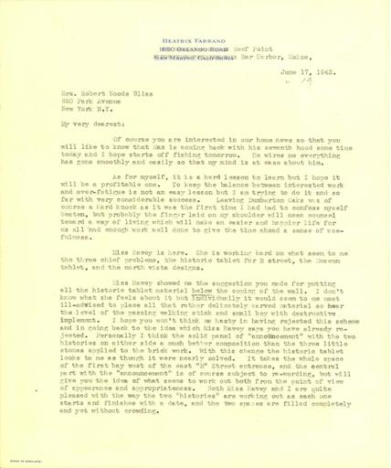 Beatrix Farrand to Mildred Bliss, June 17, 1942