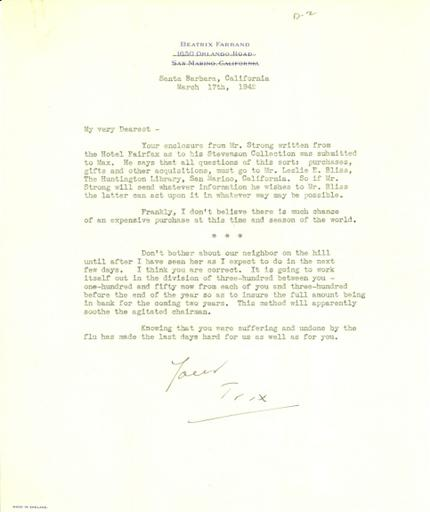 Beatrix Farrand to Mildred Bliss, March 17, 1942