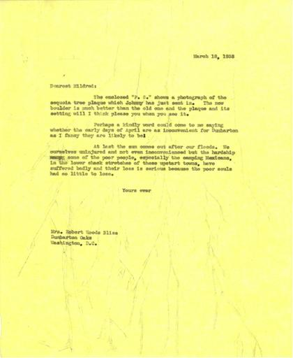 Beatrix Farrand to Mildred Bliss, March 18, 1938