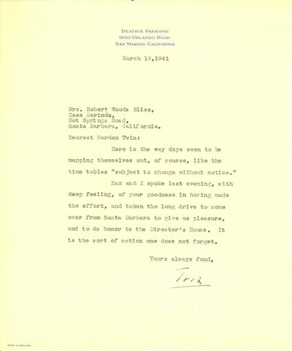 Beatrix Farrand to Mildred Bliss, March 19, 1941