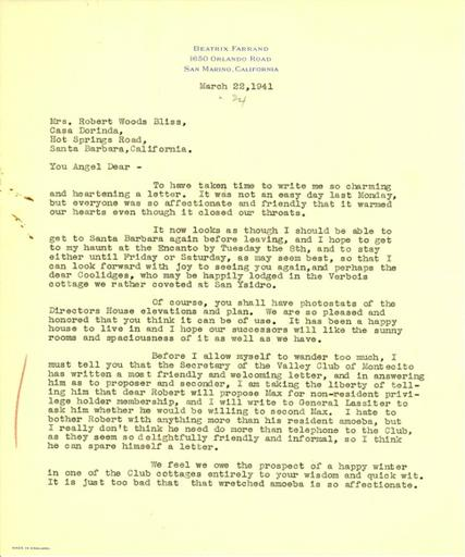 Beatrix Farrand to Mildred Bliss, March 22, 1941
