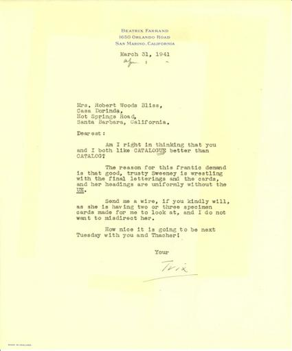 Beatrix Farrand to Mildred Bliss, March 31, 1941