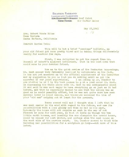 Beatrix Farrand to Mildred Bliss, May 13, 1941