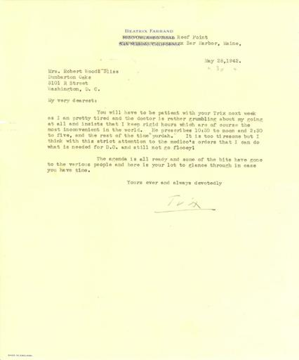 Beatrix Farrand to Mildred Bliss, May 28, 1942