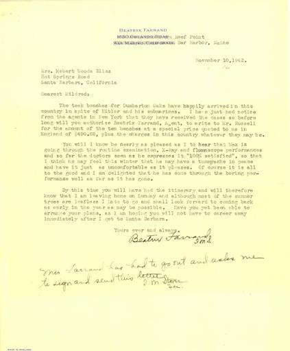 Beatrix Farrand to Mildred Bliss, November 10, 1942