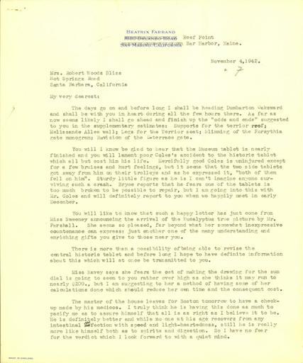 Beatrix Farrand to Mildred Bliss, November 4, 1942