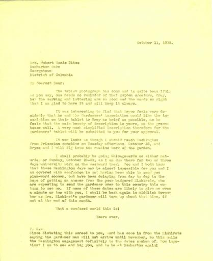 Beatrix Farrand to Mildred Bliss, October 11, 1938