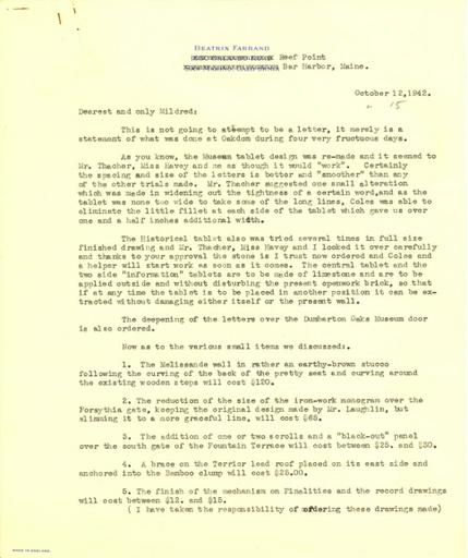 Beatrix Farrand to Mildred Bliss, October 12, 1942