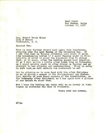 Beatrix Farrand to Mildred Bliss, October 23, 1937