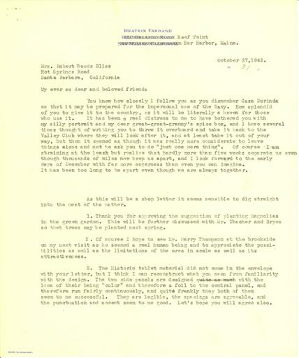 Beatrix Farrand to Mildred Bliss, October 27, 1942