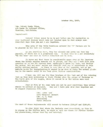 Beatrix Farrand to Mildred Bliss, October 6, 1937
