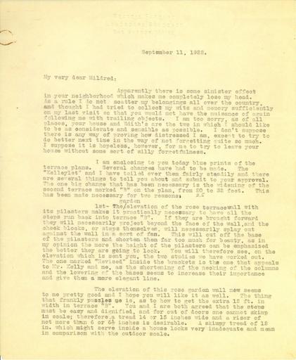 Beatrix Farrand to Mildred Bliss, September 11, 1922