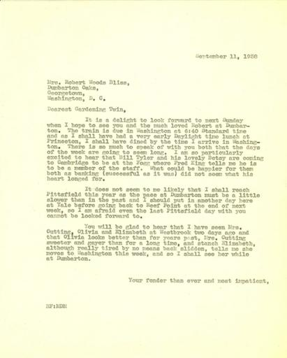 Beatrix Farrand to Mildred Bliss, September 11, 1938