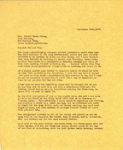 Beatrix Farrand to Mildred Bliss, September 16, 1937
