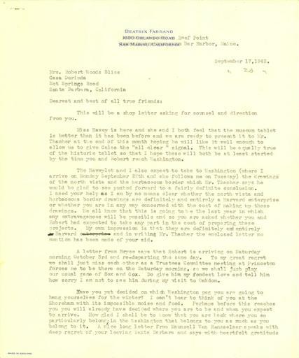 Beatrix Farrand to Mildred Bliss, September 17, 1942